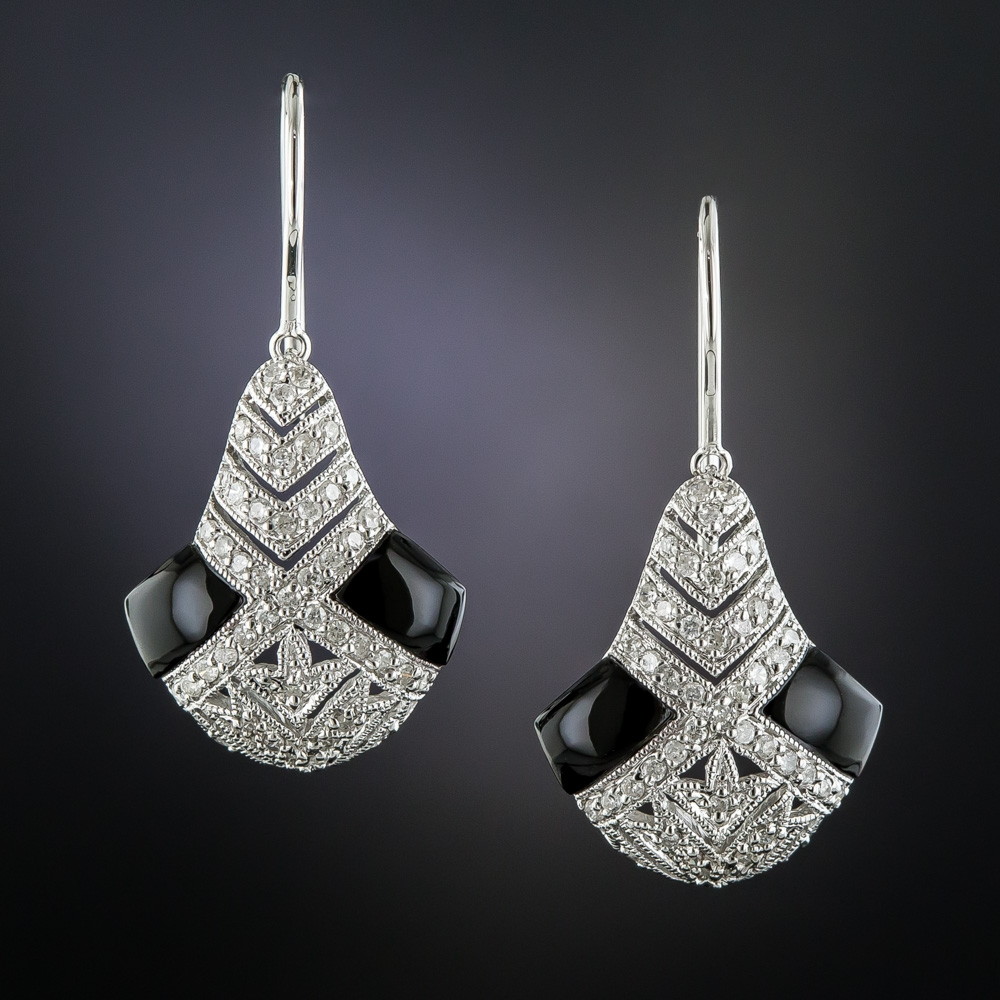Art Deco Style Onyx And Diamond Earrings Antique