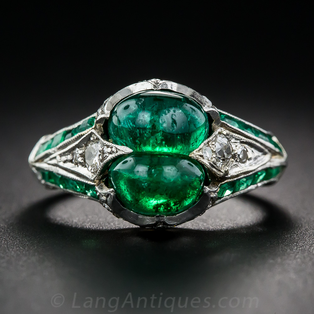 Art Deco Twin Emerald Diamond And Platinum Ring
