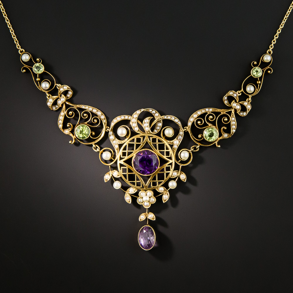 Art Nouveau Amethyst Peridot And Pearl Necklace