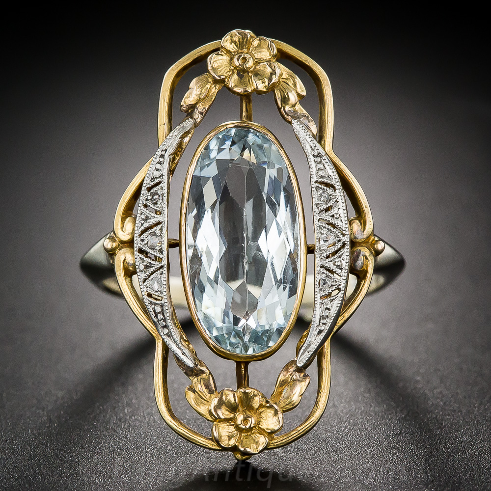 Art Nouveau Aquamarine And Diamond Ring