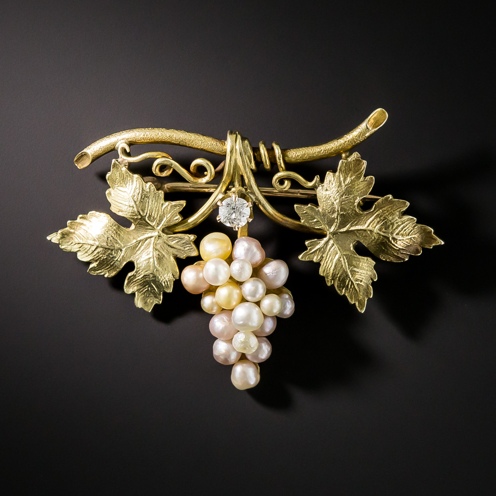 Art Nouveau Natural Pearl And Diamond Grape Cluster Pin