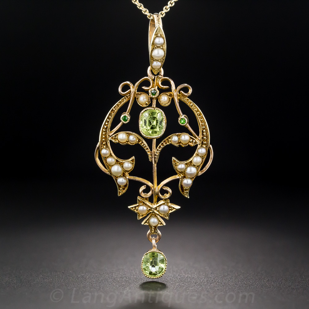 Art Nouveau Peridot And Pearl Pendant