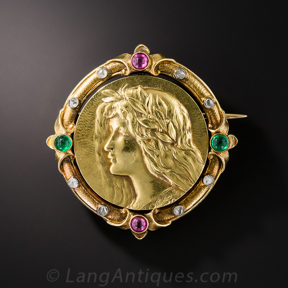 Art Nouveau Portrait Pin Vintage Jewelry
