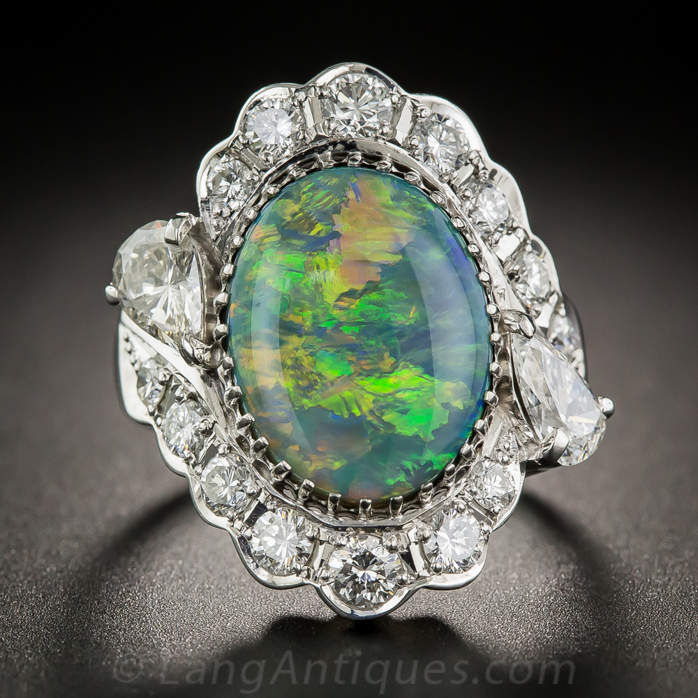 Black Opal Platinum And Diamond Ring