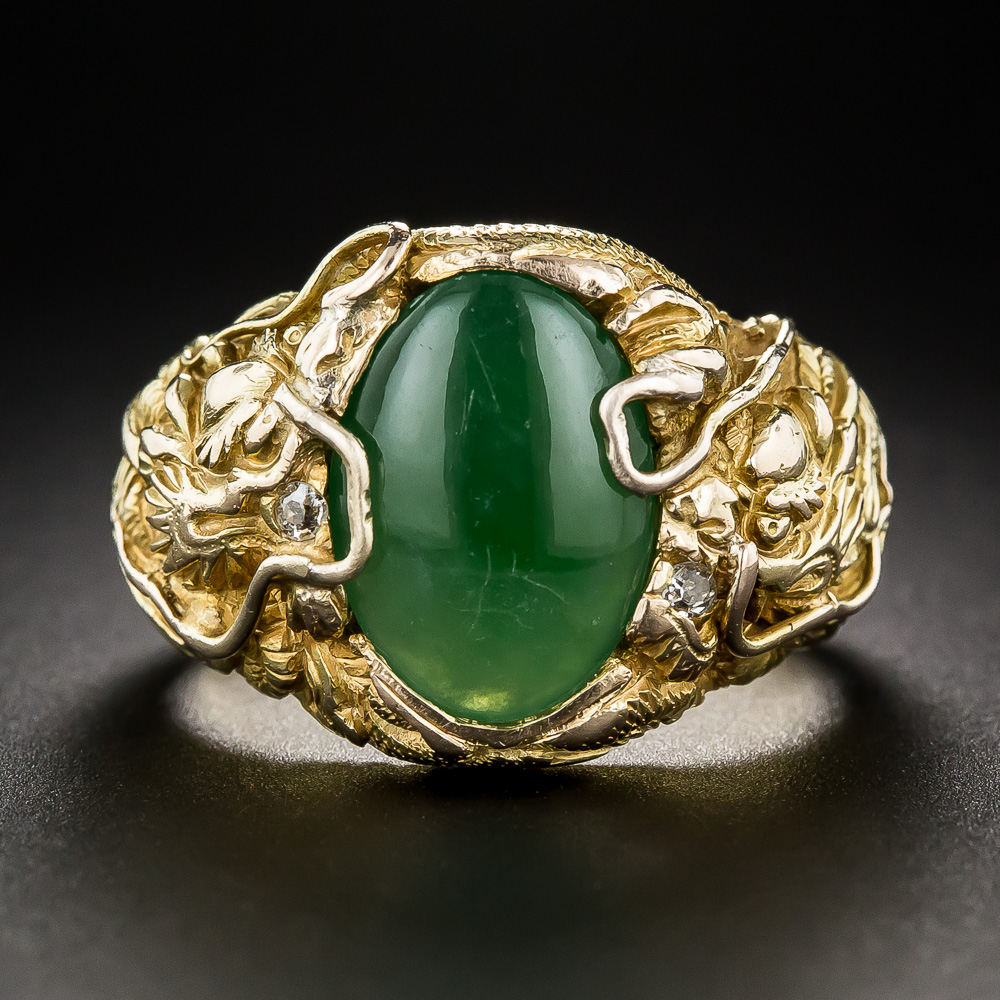 Chinese Jade Gent S Ring With Dragons