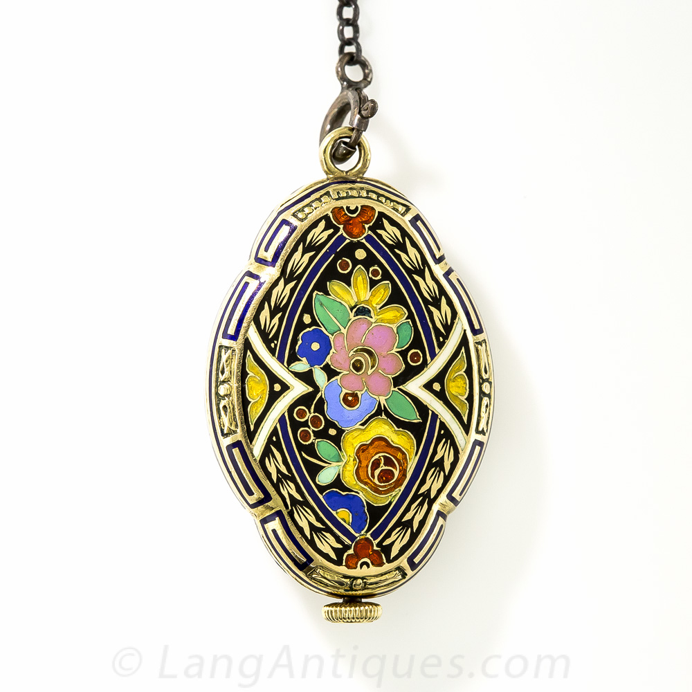 Cloisonne Enamel Art Deco Pendant Watch Gifts Vintage