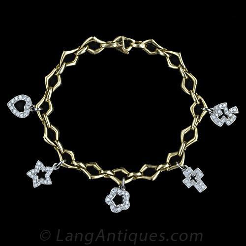 contemporary diamond charm bracelet