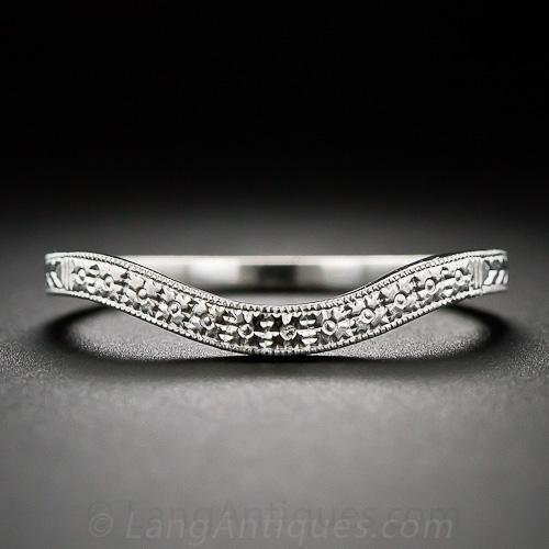 bands vintage band gold white wedding platinum ring engraved