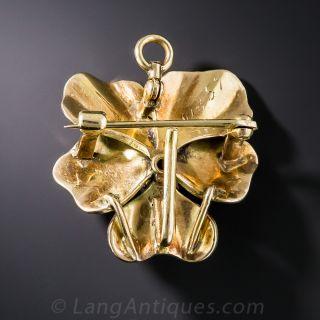 1.00 Carat Diamond and Enamel Pansy Pendant/Brooch
