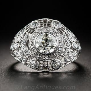 1.00 Carat Edwardian/Art Deco Platinum Diamond Ring - 4
