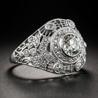 1.00 Carat Edwardian/Art Deco Platinum Diamond Ring
