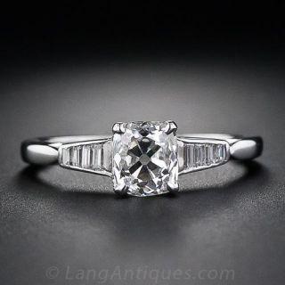 1.01 Carat Antique Cushion-Cut Diamond Engagement Ring