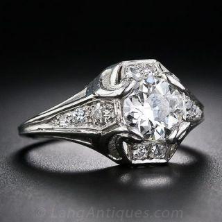 1.01 Carat Art Deco Diamond Ring by Walton & Co