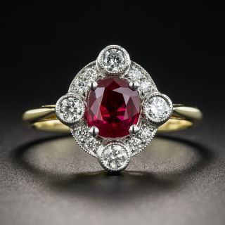 1.01 Carat Ruby Diamond Platinum and 18K Vintage Style Ring