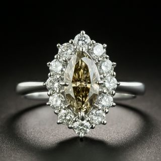 1.02 Ct. Natural Brown Marquise Diamond Ring - 1