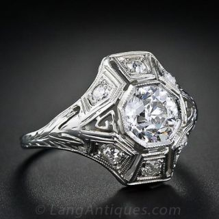 1.05 Carat Diamond Art Deco Engagement Ring