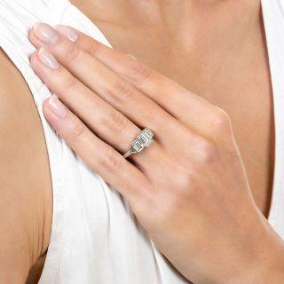 1.06 Carat Emerald-Cut Diamond Three-Stone Ring - GIA E VS1