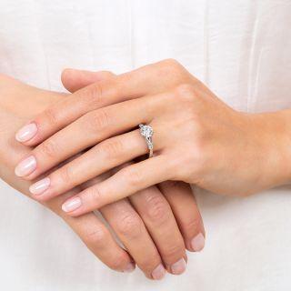 1.07 Carat Diamond Platinum Mid-Century Vintage Engagement Ring - GIA D VS2