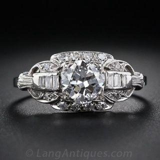 1.13 Carat Art Deco Diamond Engagement Ring - 1