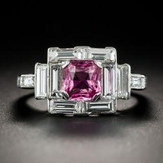 1.16 Carat No Heat Pink Sapphire Platinum and Diamond Ring Ceylon