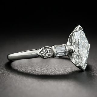 1.18 Carat Marquise Diamond Mid-Century Engagement Ring - GIA G VS1