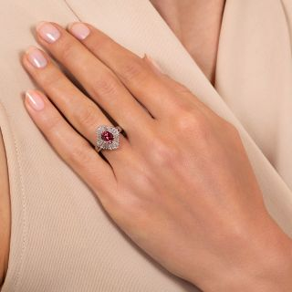 Estate 1.19 Carat Red Spinel and Baguette Diamond Ballerina Ring