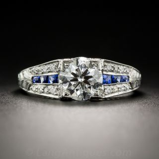 1.22 Carat Diamond and Calibre Sapphire Art Deco Style Engagement Ring - GIA E VS2 - 1