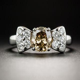 1.22 Carat Natural Brown Diamond and Platinum Bow Ring