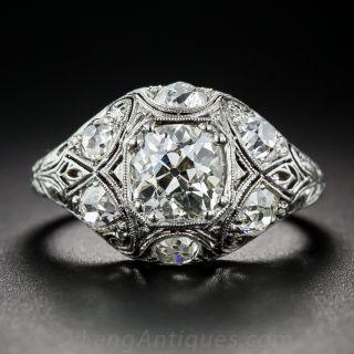 1.23 Diamond and Platinum Art Deco Ring - GIA - 1