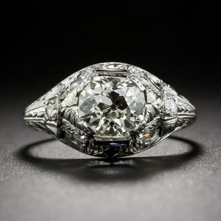 1.25 Carat Antique Cushion-Cut Diamond Art Deco Engagement Ring