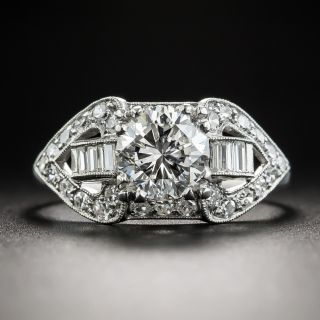 1.32 Carat Diamond Platinum Mid-Century Engagement Ring - GIA G SI1 - 1