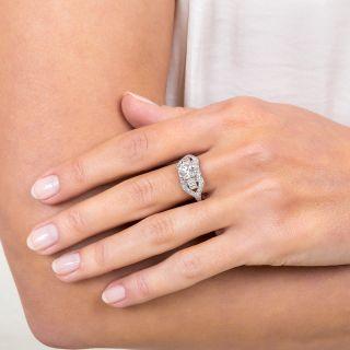 1.32 Carat Diamond Platinum Mid-Century Engagement Ring - GIA G SI1