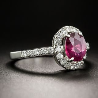 1.33 Carat Ruby and Platinum Diamond Ring