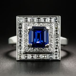 1.33 Carat Square-Cut Sapphire Platinum Diamond Ring - 1
