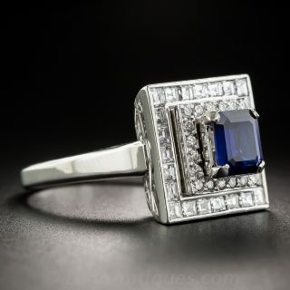 1.33 Carat Square-Cut Sapphire Platinum Diamond Ring
