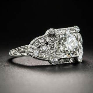 1.35 Carat Art Deco Diamond Platinum Engagement Ring - GIA L SI2