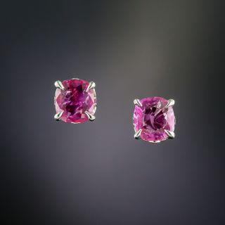 1.42 Carat Pink Sapphire Stud Earrings -Natural, No Heat, Burmese - 1