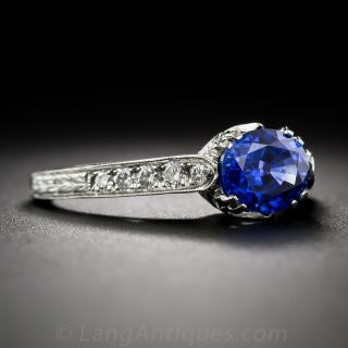 Vintage Style 1.49 Carat Sapphire and Diamond Engagement Ring