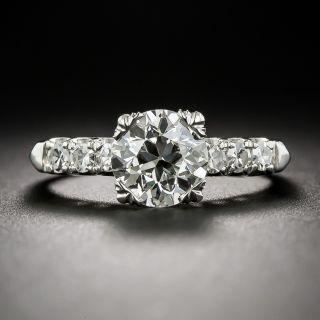 1.50 Carat Diamond and Platinum Mid-Century Engagement Ring - 1
