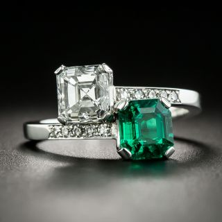 1.50 Carat Emerald-Cut Diamond and 1.11 Carat Emerald Bypass Ring - GIA - 1