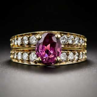 1.50 Carat Violet Pink Sapphire and Diamond Ring