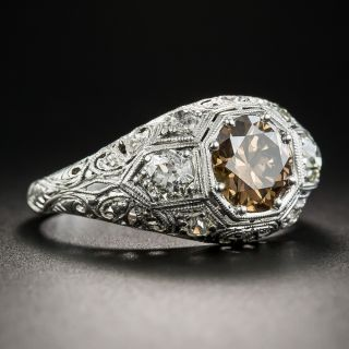 1.53 Carat Natural Fancy Orangy Brown Diamond Edwardian/Deco Engagement Ring