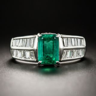 1.58 Carat Emerald Platinum Diamond Ring