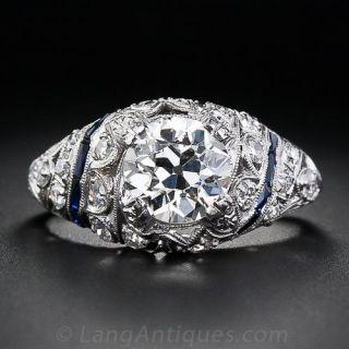 1.58 Carat Platinum Diamond and Calibre Sapphire Art Deco Engagement Ring - 1