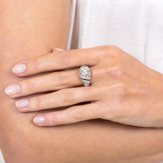 1.58 Carat Platinum Diamond and Calibre Sapphire Art Deco Engagement Ring
