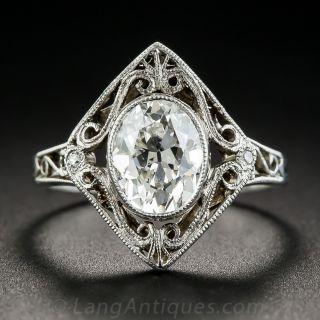 1.62 Carat Oval Early 20th Century Diamond Ring GIA - F SI1 GIA