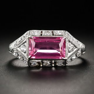 1.65 Carat Pink Sapphire Platinum and Diamond Ring - 1