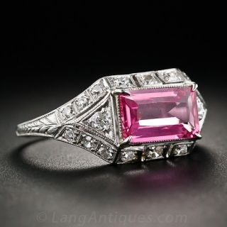 1.65 Carat Pink Sapphire Platinum and Diamond Ring