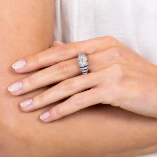 1.77 Carat Diamond and Calibre Sapphire Art Deco Ring - GIA