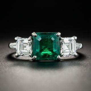 1.80 Carat Colombian Emerald Platinum Diamond Ring - 1